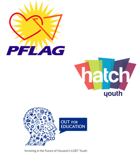 Logos for PFLAG HATCH Youth and Out for Education